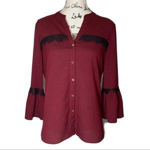 Karl Lagerfeld Lace Trim Malbec Shirt Bell Sleeve